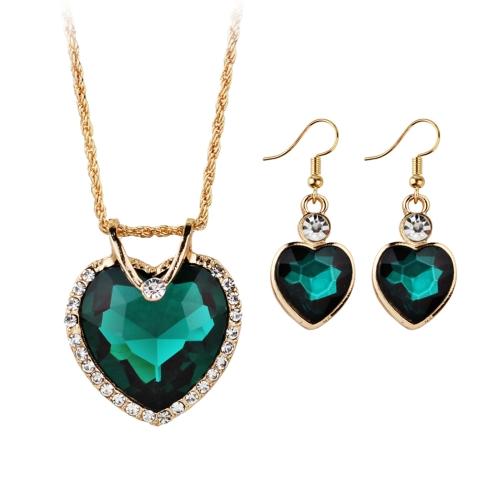 Conjuntos de jóias banhados a ouro para mulheres Coração de cristal Colar Brincos Jóias Acessórios de casamento
