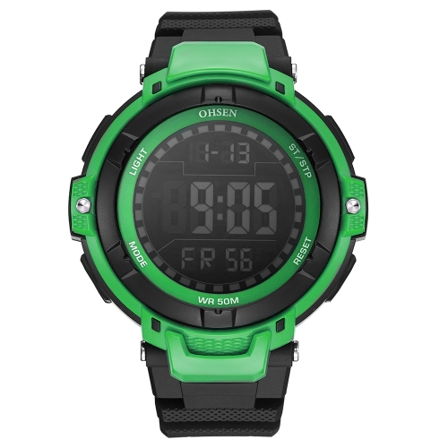 OHSEN Lujo 5ATM A Prueba de agua Digital Hombres Reloj Deportivo Banda de Goma Dial Grande Al Aire Libre Ocasional Reloj de Alarma / Calendario / Cronómetro Masculino Relogio