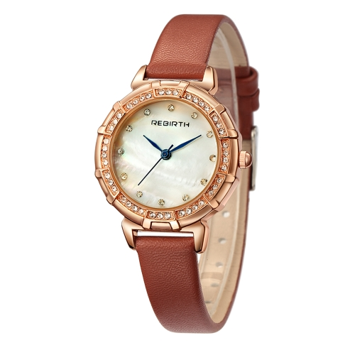 REBIRTH Fashion Luxury Women Watches 1ATM Cuarzo resistente al agua Casual Simple Mujer Reloj de pulsera Relogio Feminino