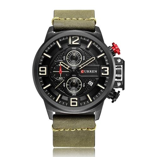 CURREN Fashion Sport Men Relojes Cuarzo 3ATM Hombre resistente al agua Reloj de pulsera cronógrafo