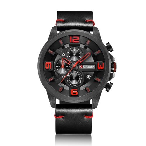 Relógios de couro genuíno de couro da moda CURREN