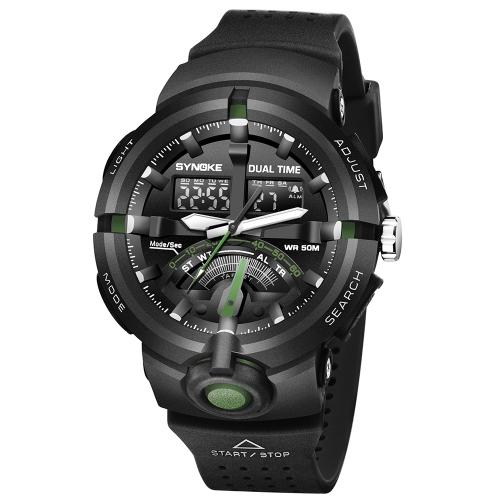SYNOKE Sports Fashion Watches Reloj resistente al agua 5ATM Electronic Luminous Man Reloj de pulsera Hombre Reloj cronógrafo Alarm Display fecha