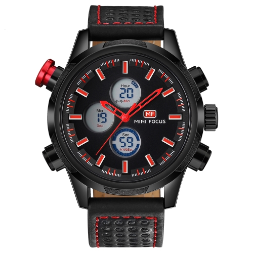 MINI FOCUS Fashion Genuine Leather Men Sport Watch Dual Display 3ATM Water-resistant Digital Luminous Wristwatch Man Relogio Musculino Chronograph