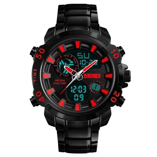 Skmei moda deporte hombres relojes de cuarzo reloj electrónico masculino 3ATM resistente al agua calendario cronómetro reloj de alarma