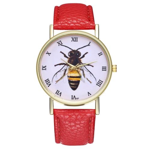 Relógio de couro de inseto de abelha mel vintage para homens das mulheres