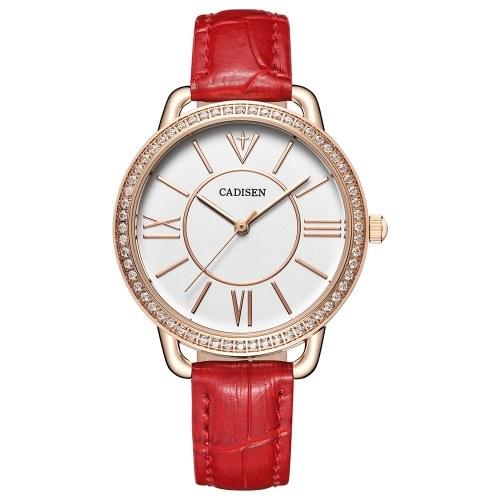 Cadisen Mode Frauen Uhren Quarz Luxus PU Leder Kleid Armbanduhr Einfach Kausal Geschenk für Frauen