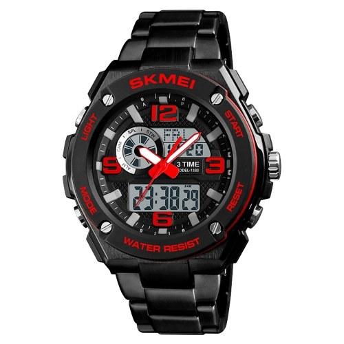 SKMEI 1333 Men Quartz 3 Time Chrono Watches Countdown Analog Digital Display Wristwatch 5ATM Waterproof Fashion Casual Backlight Multifunctional Watches