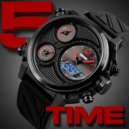 SKMEI 1359 Men Quartz 5 Time Chrono Sports Watches Analog Digital Display Wristwatch 5ATM Waterproof Fashion Casual Backlight Multifunctional Watches
