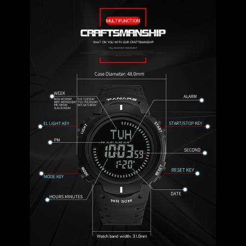 PANARS 8208 Men Digital Countdown Compass 3 Alarm Watch Fashion Casual Sports Wristwatch 5ATM Waterproof Leather Strap Luminous Backlight Multifunctional Watches