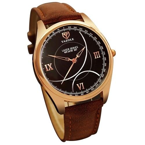 YAZOLE 367クォーツ腕時計腕時計PUレザーファッションマンウォッチ
