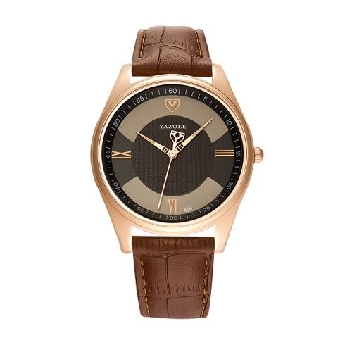 YAZOLE 416 montre en cuir montre à quartz mode montre-bracelet d'affaires décontractée