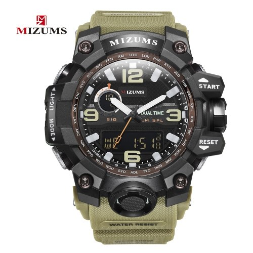 MIZUMS Men Fashion Sport Quartz Watch Electronic Digital LED Watches Multi-Functional Water-Resistant Wrist Watch