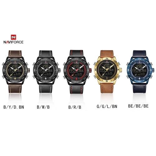 NAVIFORCE NF9144 Men Sport Watch Fashion Digital Army Military Leather Quartz Wristwatch Relogio Masculino with Gift Box thumbnail