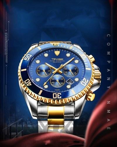 T823 Марка TEVISE Мужские Часы Роскошные Кварцевые Часы Спортивные Часы Из Нержавеющей Стали Relogio мужчина для Подарка
