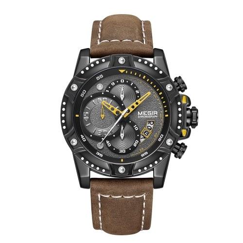 MEGIR 2130 robusto uomo al quarzo militare orologio 3ATM orologio sportivo sportivo impermeabile calendario sub-quadranti orologio da polso cronografo da uomo con cinturino in pelle