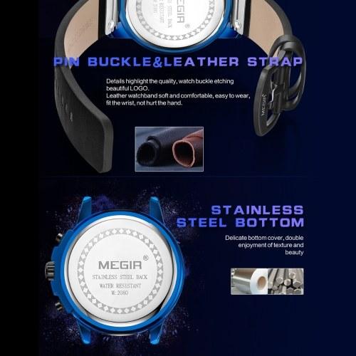 Megir 2080 Fashion Quartz Sports Men Watch Multifunctional 3 Dials Chronograph 3ATM Waterproof Luminous Hands Wrist Watch Second/Minute/Hour Chronograph Sub-dials Calendar with Leather Strap фото