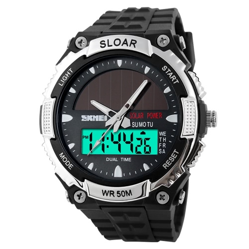 SKMEI Fashion Solar Power Dual Time Sports Military Watch