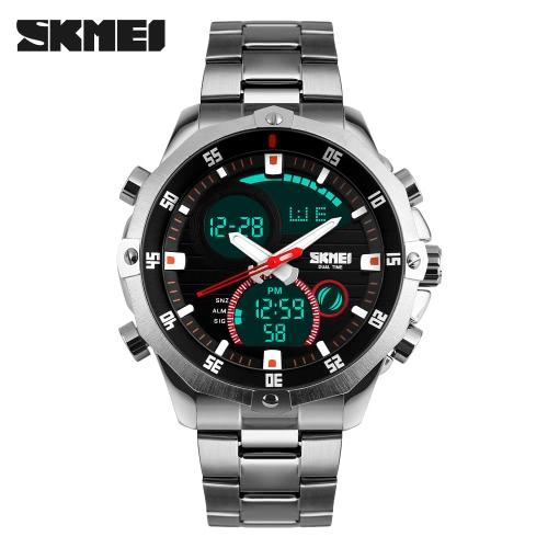 Muñeca resistente SKMEI Práctico de moda análogo-digital del tiempo dual reloj de los hombres de agua 3ATM Reloj con cronógrafo alarma de la fecha 2 de zona horaria