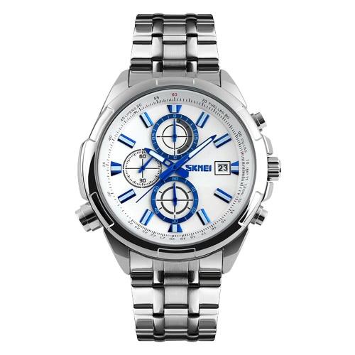 SKMEI 3 ATM resistente al agua de los hombres del reloj análogo de negocios con 3 sub-dial durable de acero inoxidable correa de reloj apuesto reloj de pulsera