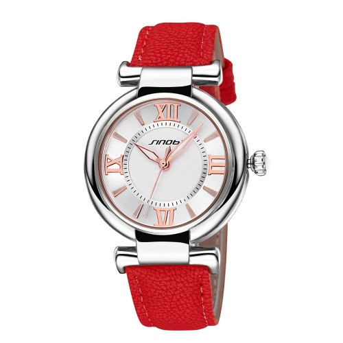 1ce1b3f4bcf SINOBI nova marca moda feminina relógios casuais PU Lady relógio romano  número vermelho   laranja