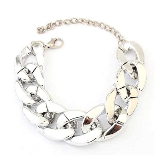 Manera exagerada Punk Rock estilo personalidad aleación Metal Link mano cadena gruesa pulsera brazalete accesorio de la joyería para mujeres niñas