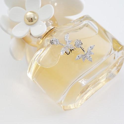 Hoja de cristal Rhinestone detrás cuelgan aretes de plata espárragos joyería para mujeres chica novia de boda