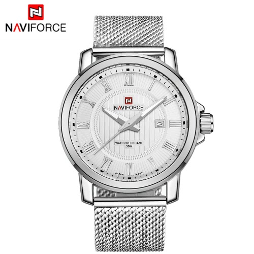 Cuarzo reloj acero inoxidable correa NAVIFORCE Casual hombres reloj de pulsera resistente al agua de los hombres con calendario punteros luminosos