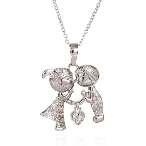 Simple de la manera linda del corazón del Rhinestone cristalino Zircon de los pares de los amantes del collar pendiente de la clavícula joyería de la cadena para el regalo del partido de compromiso de la mujer de la muchacha