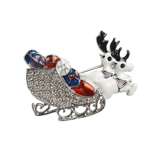 Nueva manera brillante cristalina del Rhinestone ciervos doble broche animal del collar del clip contacto de ropa accesorios joyería de la bufanda hebilla de celebración de días festivos regalo