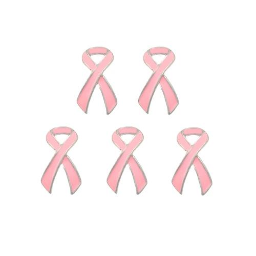 5 piezas de joyería del encanto de la manera elegante de la conciencia del rosa del cáncer de pecho de la broche del clip de partido de las mujeres de la muchacha
