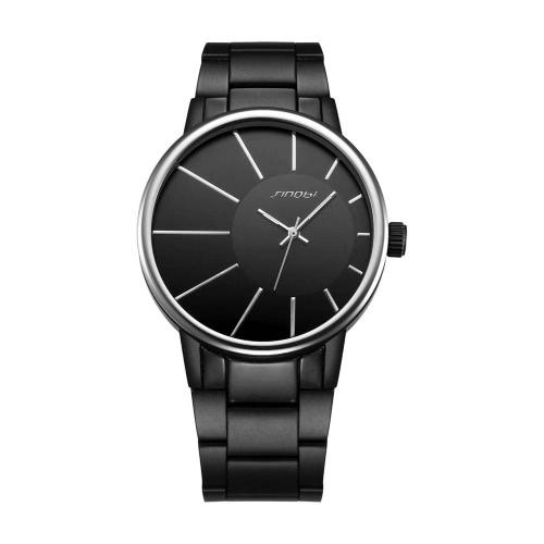 SINOBI 2016 New luxuosas dos homens liga Brand Watch Man Quartz de pulso preto 3ATM impermeável vestido moda relógios