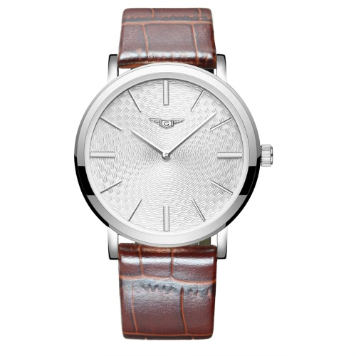 GUANQIN Oryginalny skórzany pasek analogowy zegarek kwarcowy zegarek Biznesmen stick godzinę znaczniki Cienkie i proste