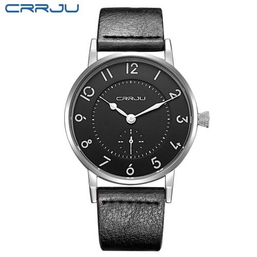 CRRJU cuero auténtico de la correa 3 ATM Resistente de agua diario reloj de los hombres Reloj de pulsera analógico simple con números arábigos marcador horas