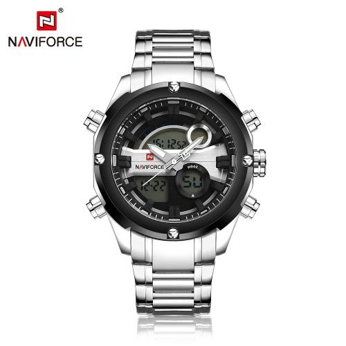 NAVIFORCE Dual-Zeit-Digital-Sport Military Watch 3ATM Wasserdicht langlebigem Edelstahl Man Quarz-Digital-Armbanduhr mit Kalender / Alarm / Stoppuhr / Lichtfunktion