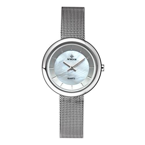 WWOOR ultra finas de moda de lujo marca mujeres relojes de acero inoxidable malla correa de cuarzo analógico a prueba de agua reloj de pulsera para damas + caja