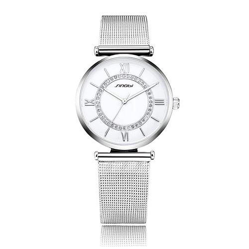 Rhinestone Resistente SINOBI mujer de cuarzo reloj de lujo reloj de la manera de agua 3ATM esfera de un reloj analógico