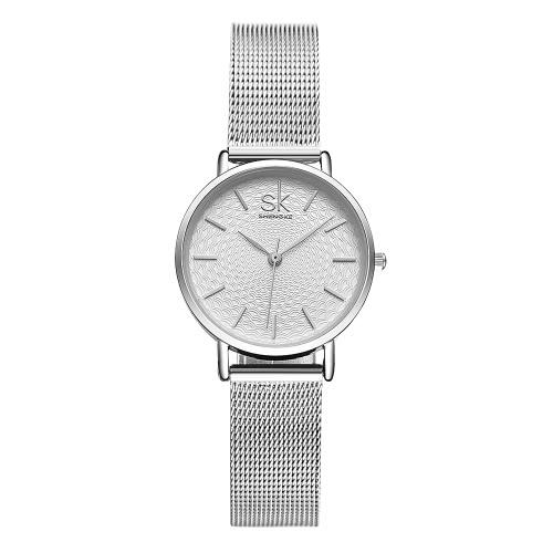 Damas de malla SK 2017 Marca de lujo de acero inoxidable / PU de cuarzo de la correa ocasional de las mujeres Relojes 30M a prueba de agua reloj de pulsera de negocios Feminio Relogio
