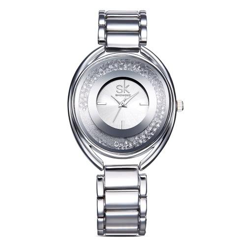 Damas SK Marca de lujo de oro rosa de acero relojes de las mujeres del diamante del análogo de cuarzo 3 ATM resistentes al agua reloj de pulsera informal Feminio Relogio