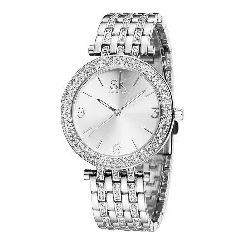 SK Marca Rhinestone de lujo de acero relojes de las mujeres 3 ATM resistente al agua La simplicidad del reloj de señoras de moda de las mujeres de negocios Reloj Feminio Relogio