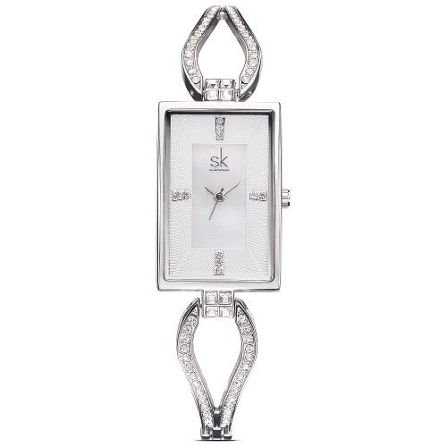 SK Relógios Rectangulares de aço para mulheres
