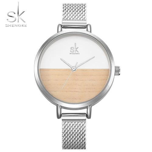 SK 2017 Simplicity Mesh Stainless Steel Relógios femininos Ultra Thin Dial 3ATM Quartz resistente à água Relógio de pulso casual Rose Gold / Silver