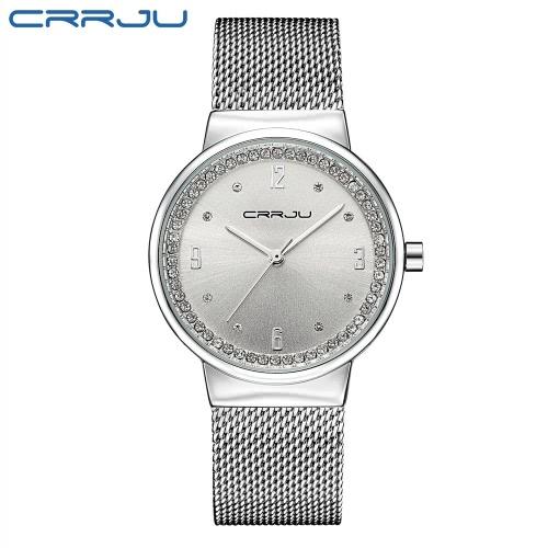 CRRJU Luxury Diamond Mesh Relógios de aço inoxidável para mulheres Quartz Simplicidade com prova de água Relógio de pulso casual Relógio elegante para senhoras + Caixa