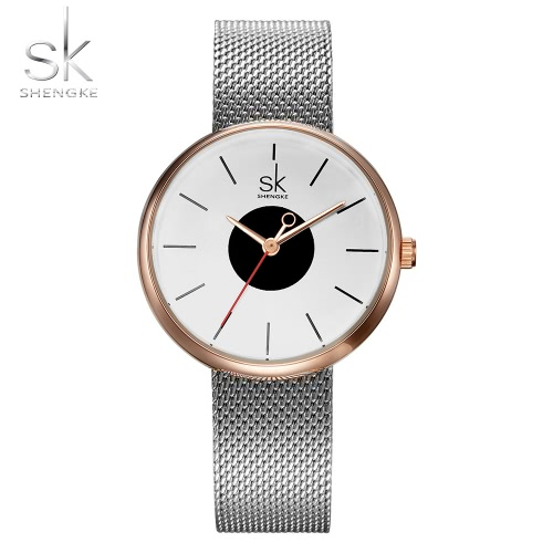 SK Fashion Simplicity Malla De Acero Inoxidable Elegante Ladies Watch