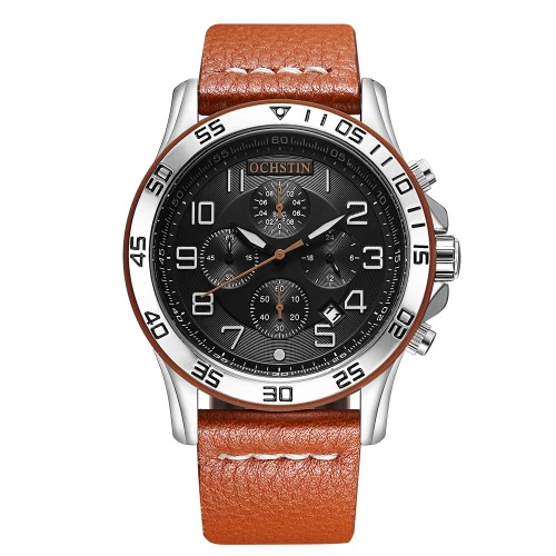 OCHSTIN moda luminosa de estilo militar hombres de cuarzo reloj de pulsera de cuero genuino impermeable reloj casual masculina relogio + caja
