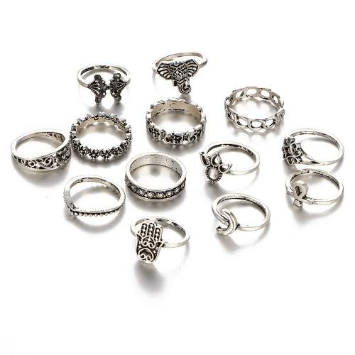 Diamante bohemio retro del elefante del anillo de señora Suit 13Pcs que talla el regalo de día de fiesta de la joyería de las mujeres del anillo