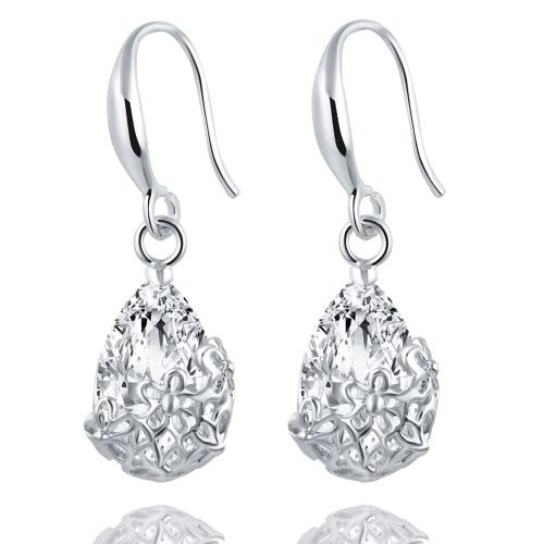 Zircon de cristal de la boda cuelgan el pendiente para las mujeres Accesorios clásicos elegantes de la joyería de las flores para la muchacha