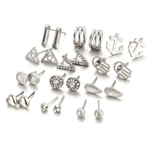 Joyería de moda cristal de diamante amor v bola helada varios tipos 12 pares de aretes traje