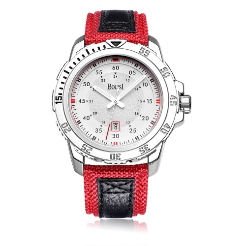 El reloj de cuarzo ocasional de la manera de Bolisi 3ATM hombres resistentes a agua mira el calendario masculino del reloj