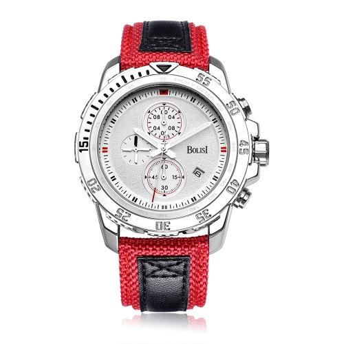 Orologio casuale del quarzo di Bolisi di modo 3ATM Gli uomini impermeabili degli uomini mette in mostra il timer del calendario dell'orologio dell'uomo