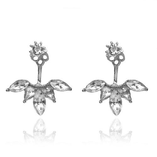 Pendientes simples de la flor oval del Rhinestone claro de lujo para la joyería de los pendientes de la manera de las mujeres